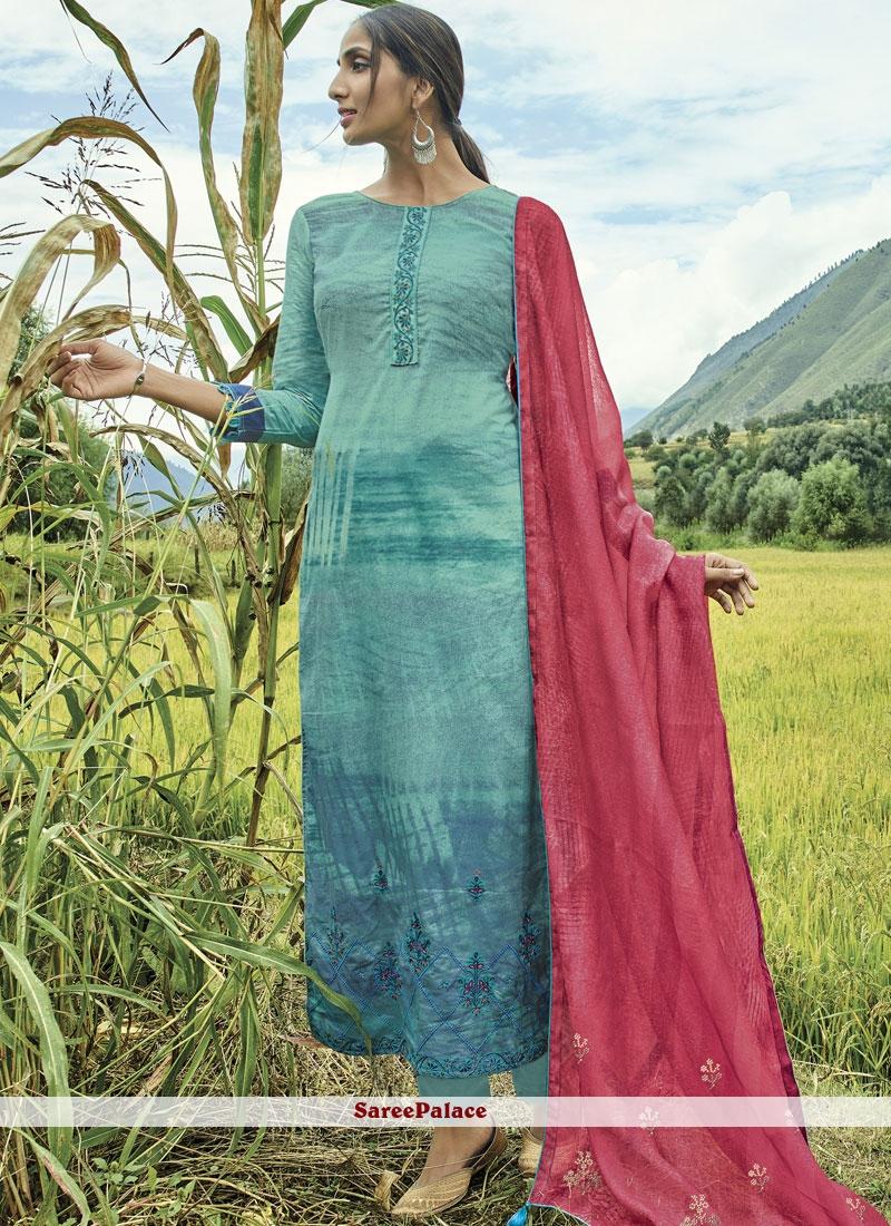 Cotton Lawn Blue Designer Suit
