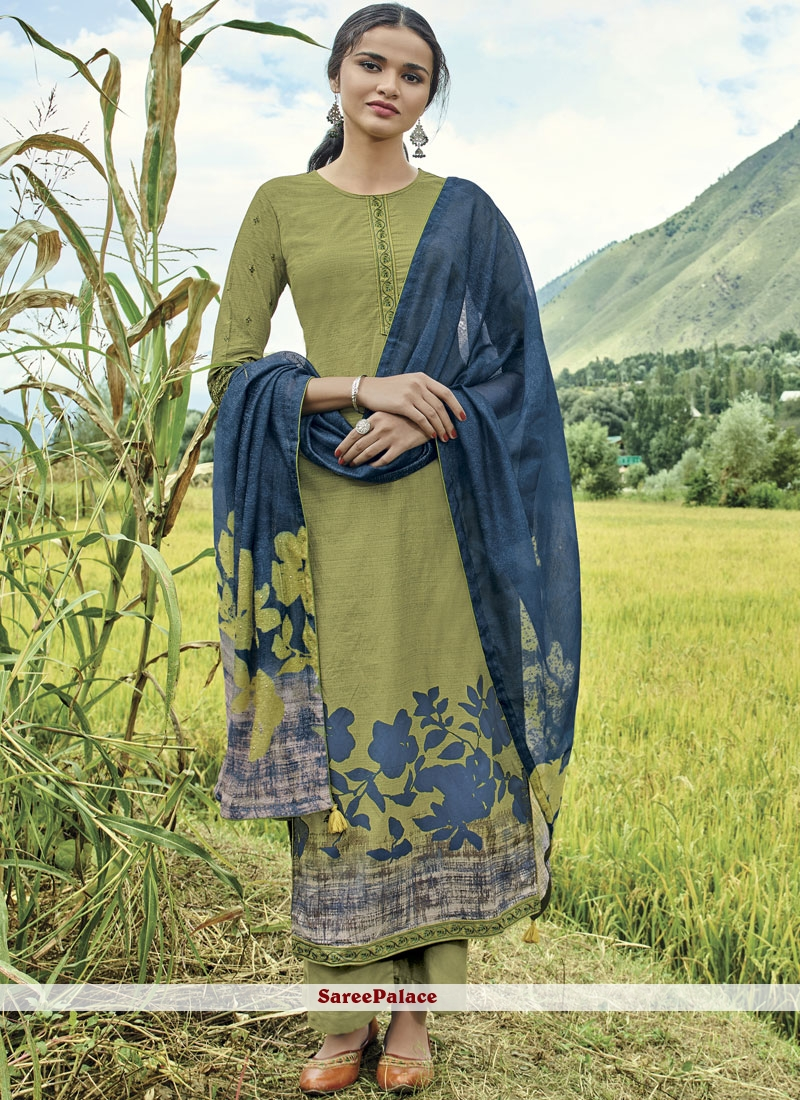 Green Cotton Lawn Embroidered Designer Suit
