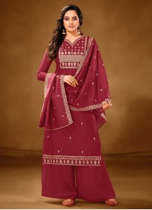 Cotton Lawn Maroon Embroidered Designer Pakistani Suit
