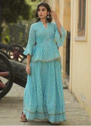 Cotton Lehenga Choli in Blue