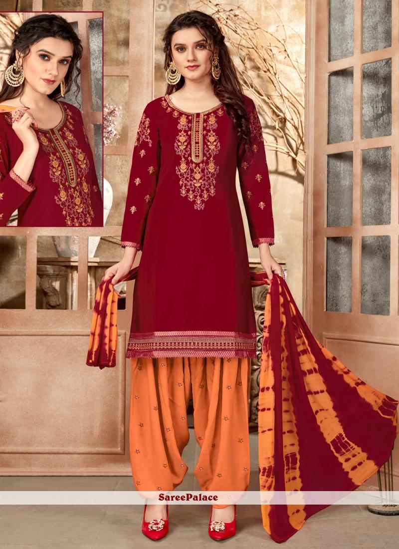 Cotton Maroon Designer Patiala Suit