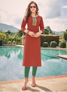 Cotton Maroon Embroidered Party Wear Kurti