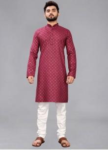 Cotton Maroon Kurta Pyjama
