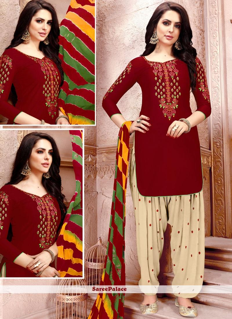 d7c6c323fda Buy Cotton Maroon Punjabi Suits Online Shopping - 103763 - Saree Palace