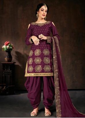 Cotton Mirror Purple Designer Patiala Suit
