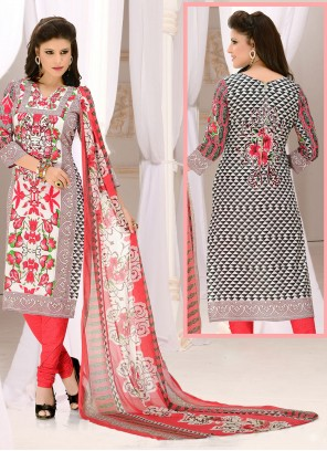 Cotton Mirror Grey and Red Churidar Suit