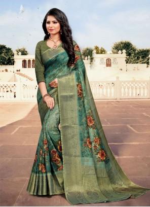 Cotton Multi Colour Digital Print Traditional Saree