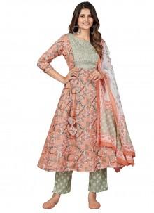 Cotton Multi Colour Print Anarkali Suit