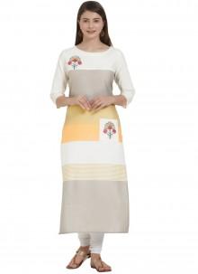 Cotton Multi Colour Print Party Wear Kurti