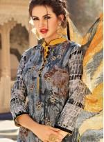 Cotton   Multi Colour Print Work Churidar Suit