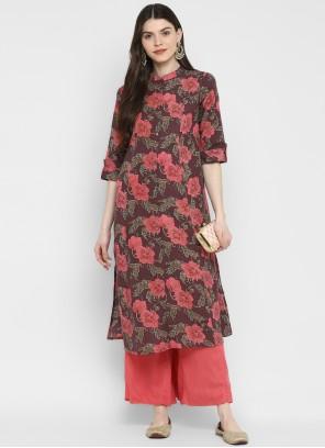 Cotton Multi Colour Printed Party Wear Kurti
