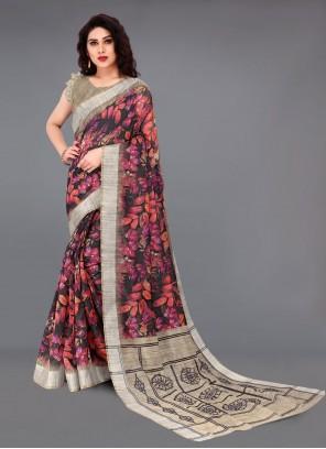 Cotton Multi Colour Casual Printed Saree