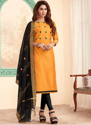 Cotton Mustard Churidar Designer Suit
