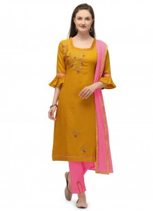 Cotton Mustard Embroidered Pant Style Suit