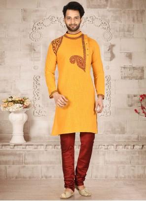 Cotton Mustard Kurta Pyjama