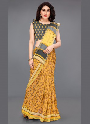 Cotton Mustard Printed Bollywood Saree