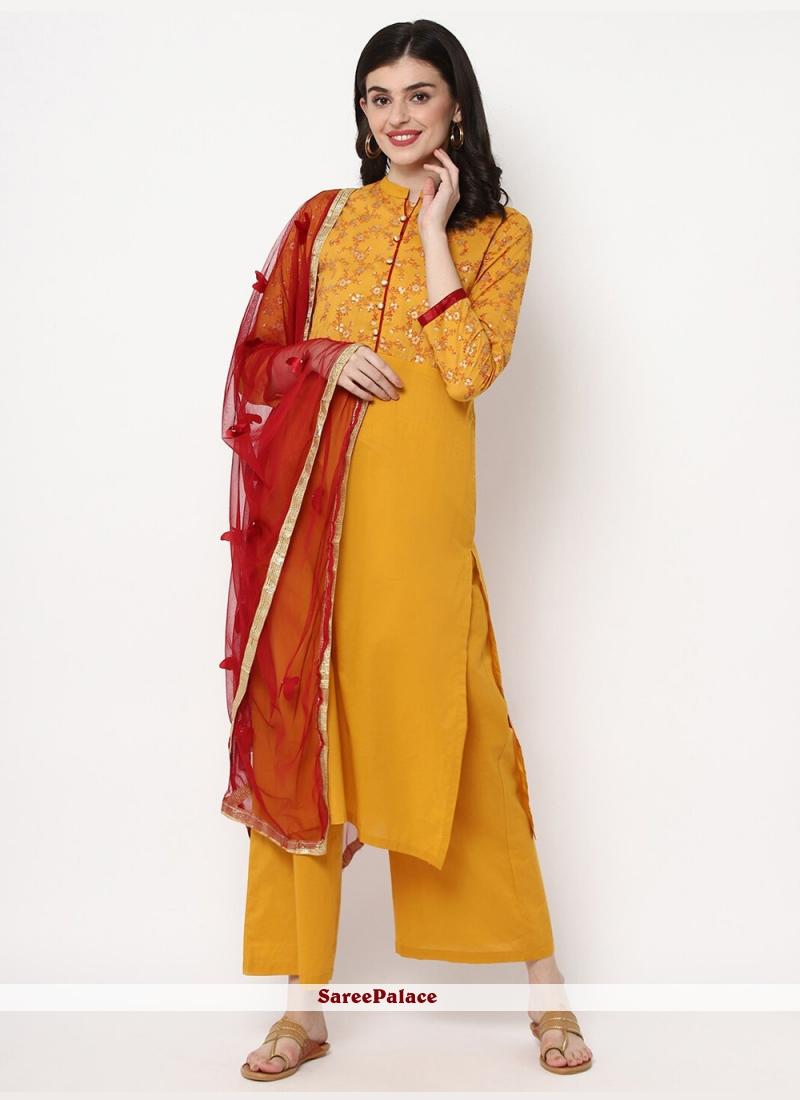 Cotton Mustard Trendy Salwar Kameez