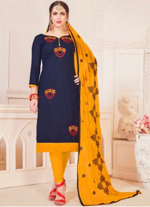 Cotton   Navy Blue Embroidered Churidar Suit