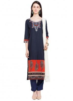 Cotton Navy Blue Embroidered Readymade Salwar Kameez
