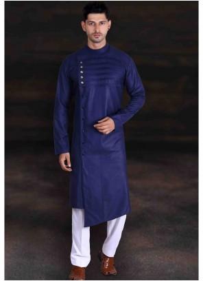Cotton Navy Blue Plain Kurta Pyjama