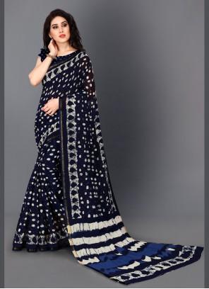 Cotton Navy Blue Trendy Saree