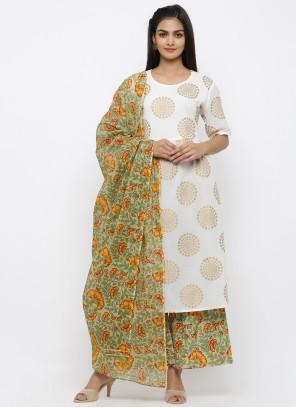 Cotton Off White Print Salwar Kameez