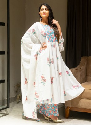 Cotton Off White Print Salwar Suit