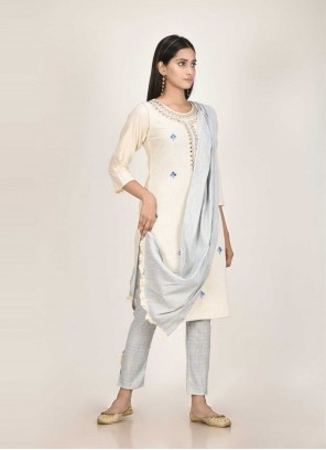 Cotton Off White Readymade Suit