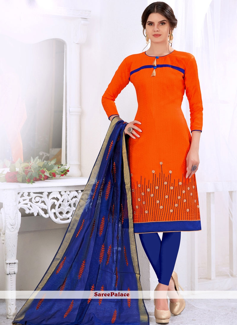 Cotton   Orange Churidar Suit