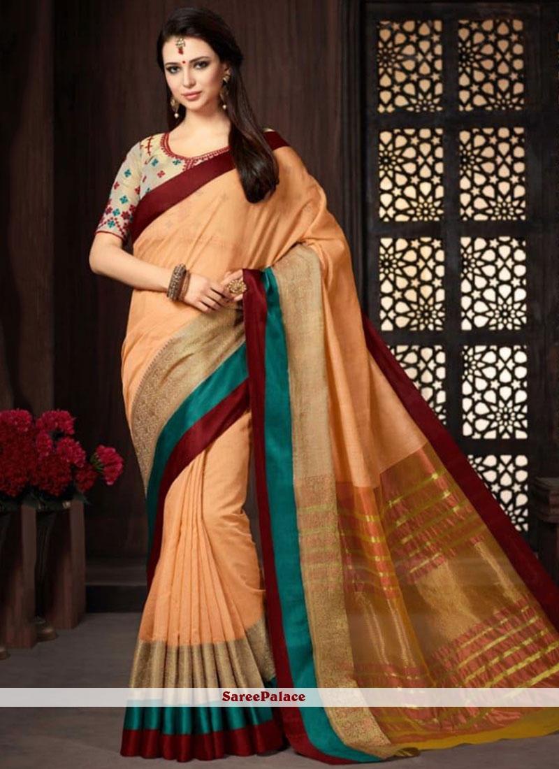 Cotton   Orange Classic Designer Saree