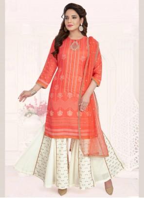 Cotton Orange Designer Palazzo Suit
