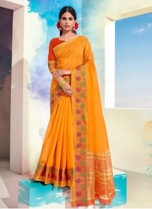 Cotton Orange Designer Saree