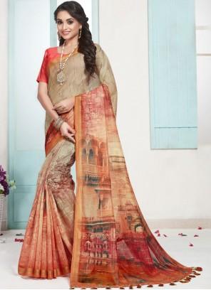 Cotton Orange Digital Print Designer Traditional Saree