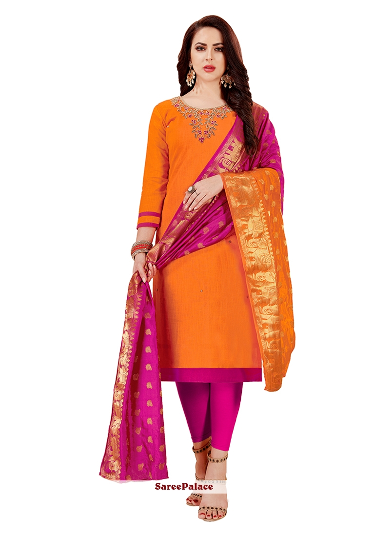 Cotton   Orange Embroidered Churidar Designer Suit