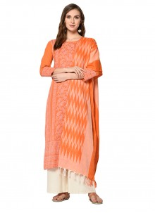 Cotton Orange Print Palazzo Designer Salwar Kameez