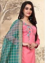 Cotton Pant Style Suit in Pink