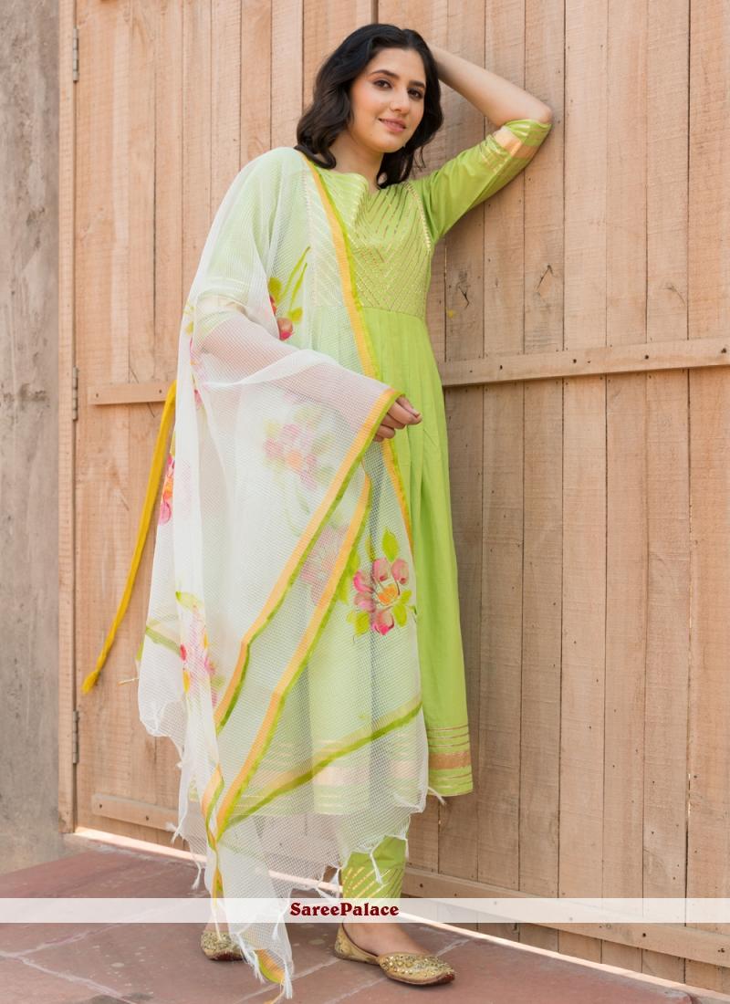 Cotton Party Anarkali Green Salwar Kameez