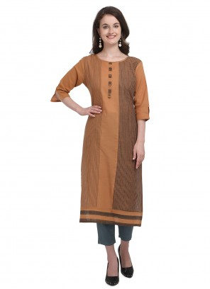 Cotton Party Brown Casual Kurti