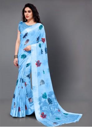 Cotton Aqua Blue Party Classic Saree