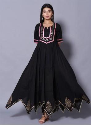 Cotton Party Black Designer Gown