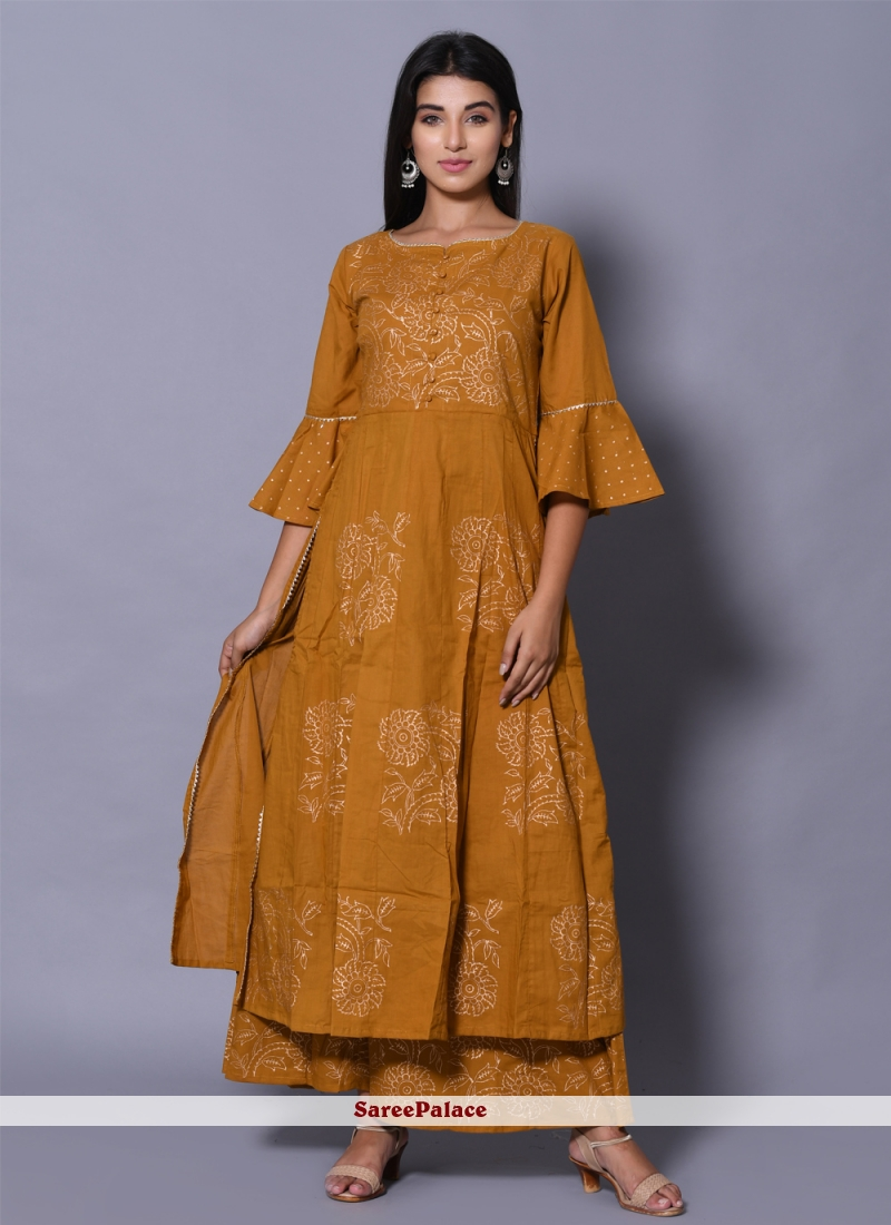 Cotton Party Mustard Designer Kurti