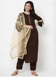 Cotton Party Brown Designer Salwar Suit