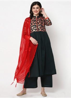 Cotton Party Green Trendy Salwar Suit