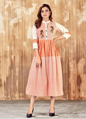 Peach Cotton Party Wear Kurti