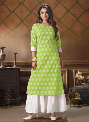 Green Cotton Party Wear Kurti