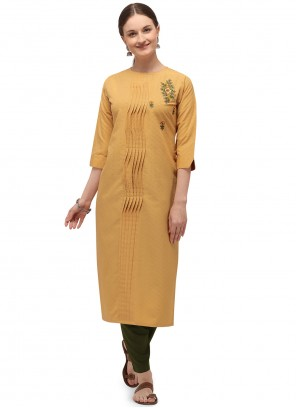 Cotton Party Wear Kurti in Yellow