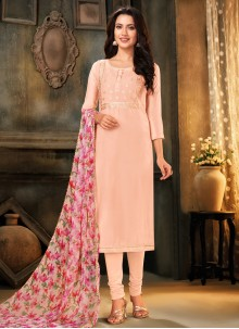 Cotton Peach Designer Salwar Suit