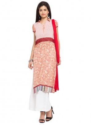 Cotton Peach Printed Readymade Salwar Kameez