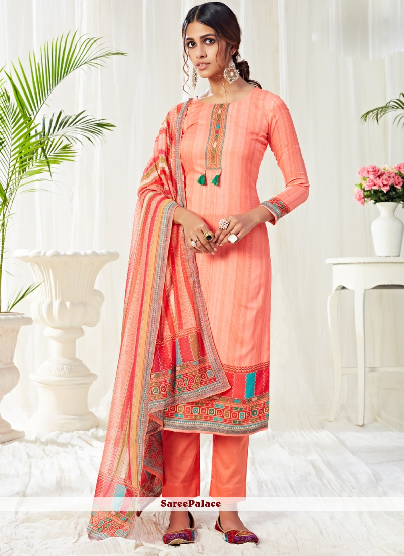 Cotton Peach Trendy Salwar Suit