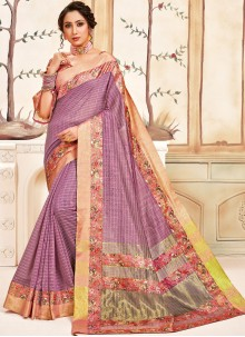 Cotton Pink Abstract Print Classic Designer Saree